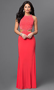 High Neck Beaded Long Prom Dress With Side Cut Outs