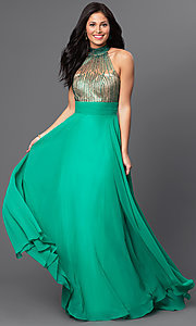Long Green Beaded Sweetheart Open Back Prom Dress by Dave and Johnny