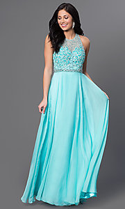 Long Aqua T-Back Sleeveless Beaded Sweetheart Dave and Johnny Dress