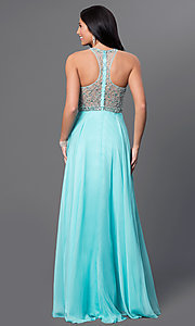 Image of long aqua formal prom dress with beaded bodice. Style: DJ-2435 Back Image