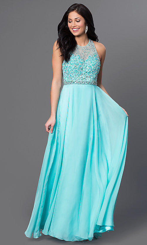 Image of long aqua formal prom dress with beaded bodice. Style: DJ-2435 Front Image