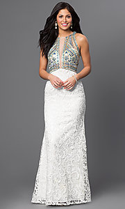 Long Ivory Beaded High Neck Lace Prom Dress by Dave and Johnny