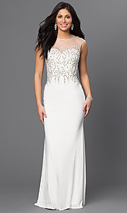 Ivory Long Beaded Sweetheart Prom Dress by Dave and Johnny