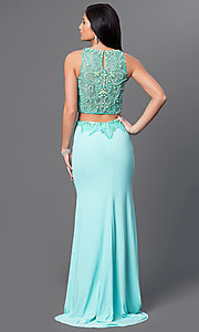 Image of Dave and Johnny long aqua two-piece prom dress. Style: DJ-2499 Back Image
