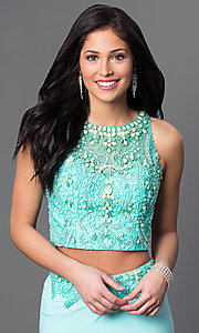Image of Dave and Johnny long aqua two-piece prom dress. Style: DJ-2499 Detail Image 1