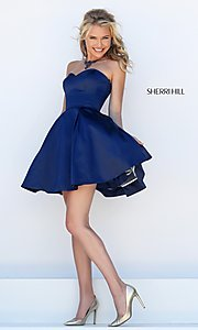 Image of short satin fit and flare sweetheart dress Style: SH-50228 Front Image