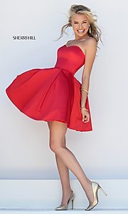 Image of short satin fit and flare sweetheart dress Style: SH-50228 Detail Image 1