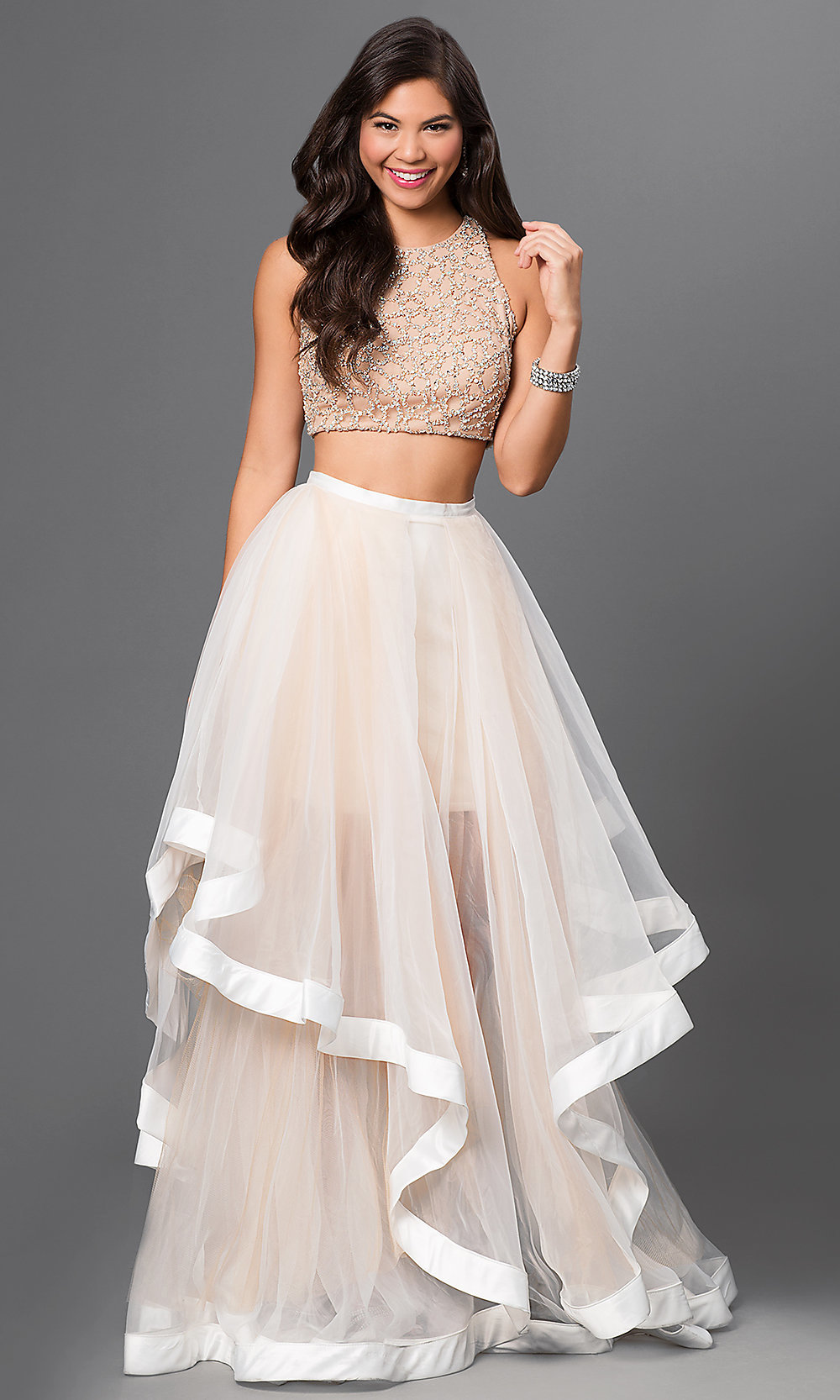 a7880e7f2f29 Terani Two-Piece Long Jewel Top Dress - PromGirl