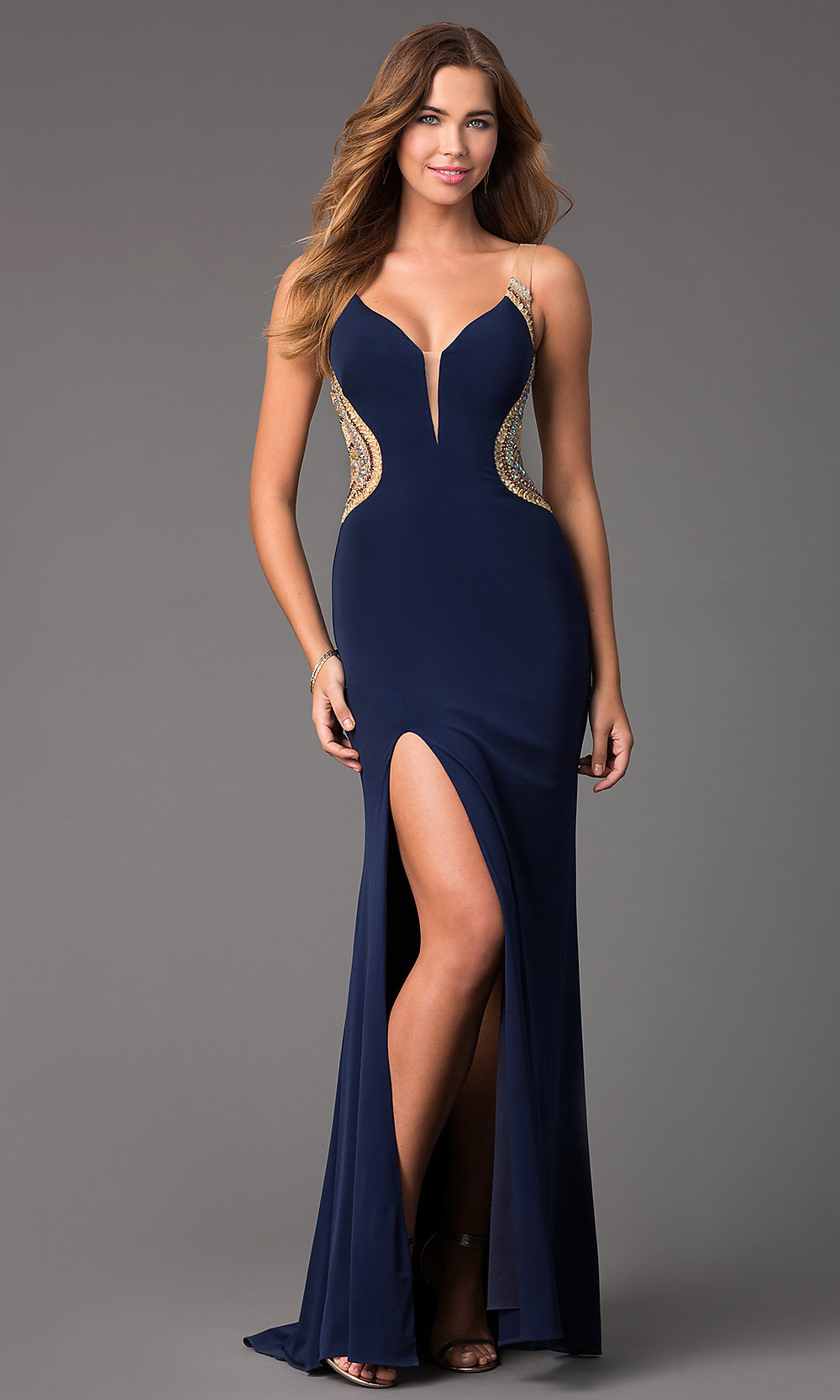 Long Blue Sheer Back V-Neck Prom Dress-PromGirl
