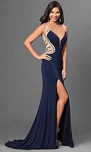 Image of strapless v-neck sheer back thigh slit floor length dress  Style: TI-DL316 Detail Image 1