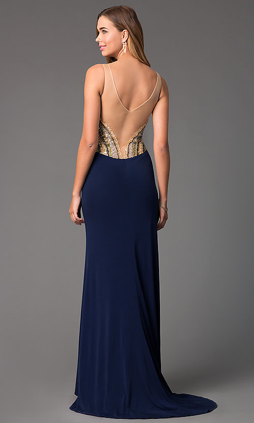 Image of strapless v-neck sheer back thigh slit floor length dress  Style: TI-DL316 Back Image