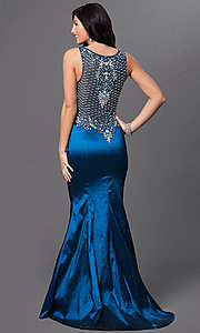 Image of long teal blue v-neck prom dress with sheer back. Style: MF-E1933 Front Image