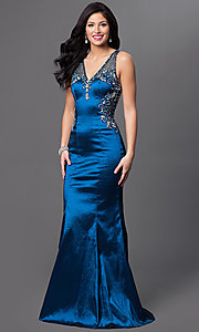 Image of long teal blue v-neck prom dress with sheer back. Style: MF-E1933 Back Image