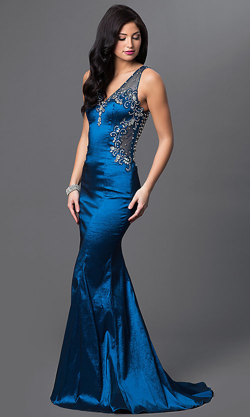 Image of long teal blue v-neck prom dress with sheer back. Style: MF-E1933 Detail Image 1