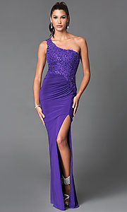 Image of long thigh slit one shoulder beaded bodice dress Style: MF-E1903 Front Image