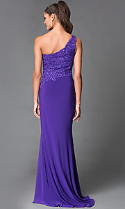 Image of long thigh slit one shoulder beaded bodice dress Style: MF-E1903 Back Image