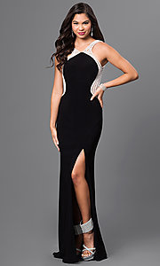 Open Back Long Black Prom Dress