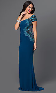 Beaded One Shoulder Long Prom Dress With Short Sleeve