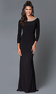 Black Bateau Embellished Neckline Open Back Dress