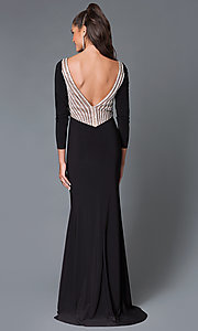 Image of long sleeve open back embellished neckline long dress Style: MF-E1859 Back Image