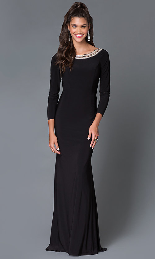 Image of long sleeve open back embellished neckline long dress Style: MF-E1859 Front Image