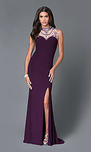 Illusion Sleeveless Sweetheart Beaded Long Prom Dress With Side Slit