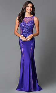 Long Purple Illusion Sweetheart Open Back Prom Dress MF-E1879