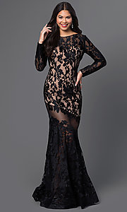Floor Length Black Illusion Lace Dress with Sleeves