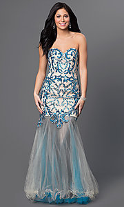 Strapless Beaded Sweetheart Mermaid Style Long Prom Dress