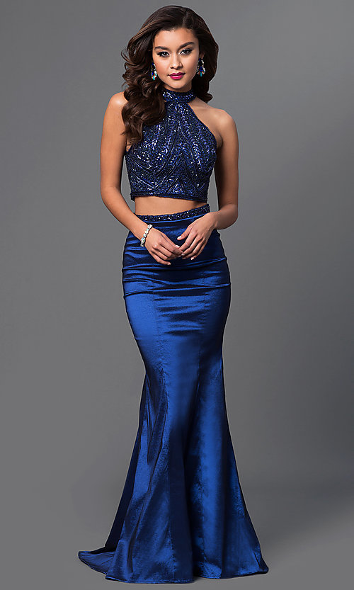 Image of two-piece beaded high-neck long prom dress. Style: MF-E1923 Front Image