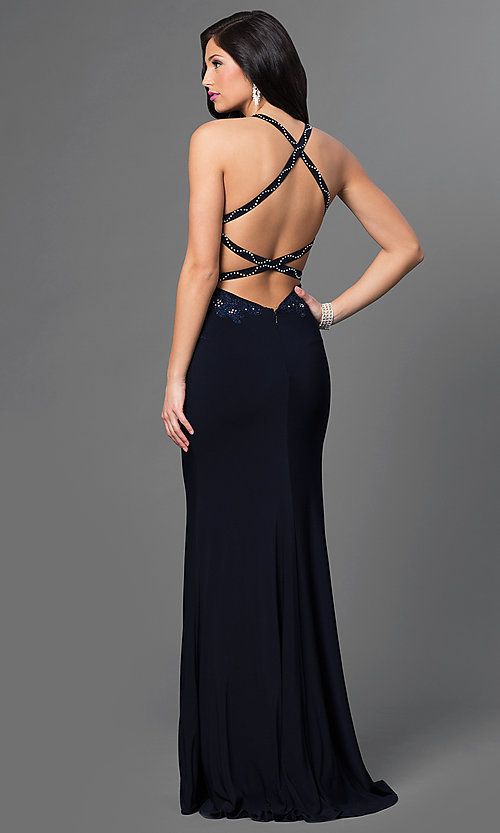 Image of long sleeveless embroidered bodice sweetheart dress Style: AL-35760 Back Image