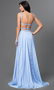 Image of open-back two-piece lace embellished long dress Style: AL-35765 Back Image