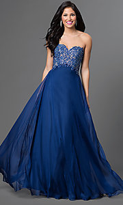 Image of long flowing chiffon dress with beaded lace applique bodice Style: AL-35767 Front Image