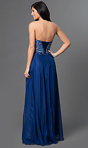 Image of long flowing chiffon dress with beaded lace applique bodice Style: AL-35767 Back Image
