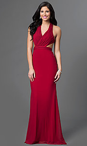 Image of long V-neck dress with open back Style: AL-35771 Detail Image 2