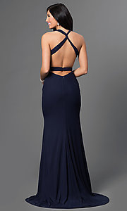 Image of long V-neck dress with open back Style: AL-35771 Back Image