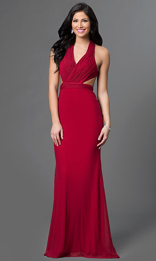 Image of long V-neck dress with open back Style: AL-35771 Front Image