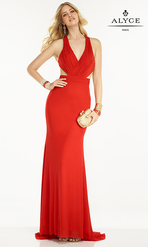 Image of long V-neck dress with open back Style: AL-35771 Detail Image 1
