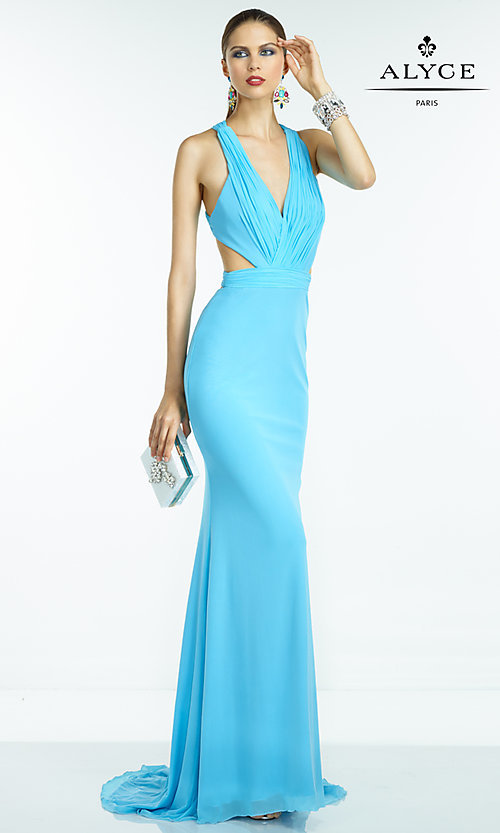 Image of long V-neck dress with open back Style: AL-35771 Detail Image 3
