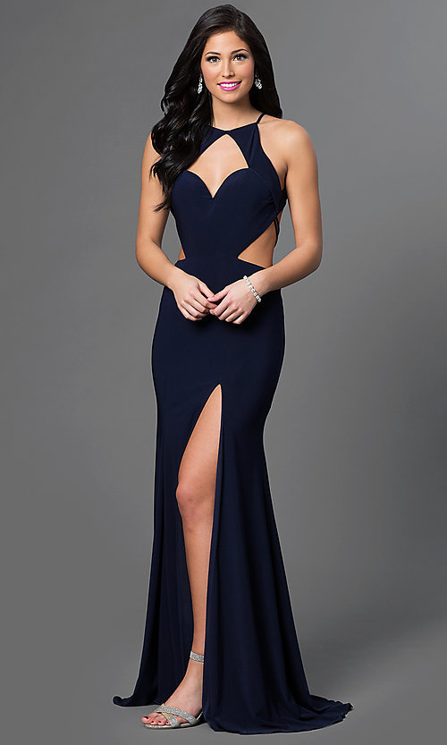 Image of long sleeveless cut out sweetheart dress Style: AL-35772 Front Image