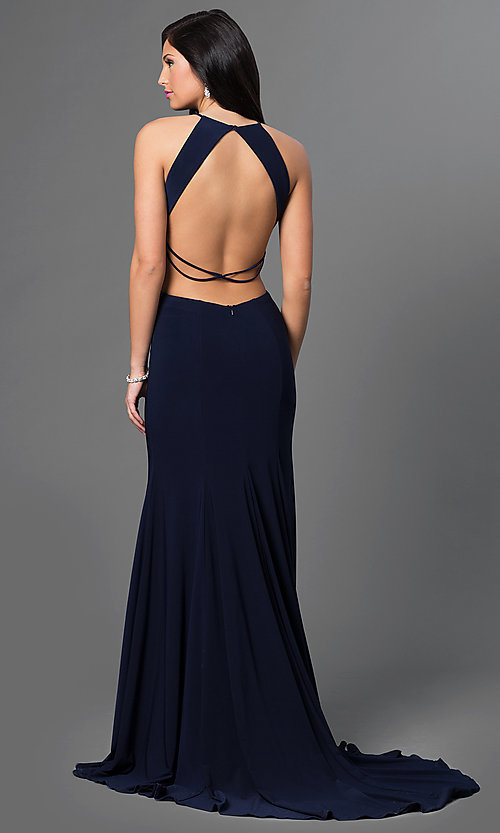 Image of long sleeveless cut out sweetheart dress Style: AL-35772 Back Image