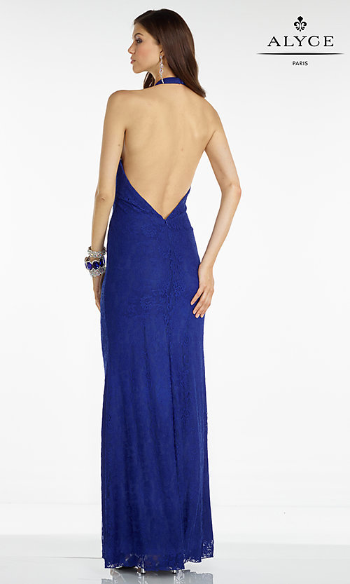 Image of long lace halter dress Style: AL-35793 Back Image