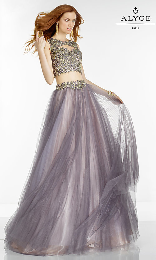 Image of long two-piece lace embellished open-back prom dress Style: AL-6561 Front Image