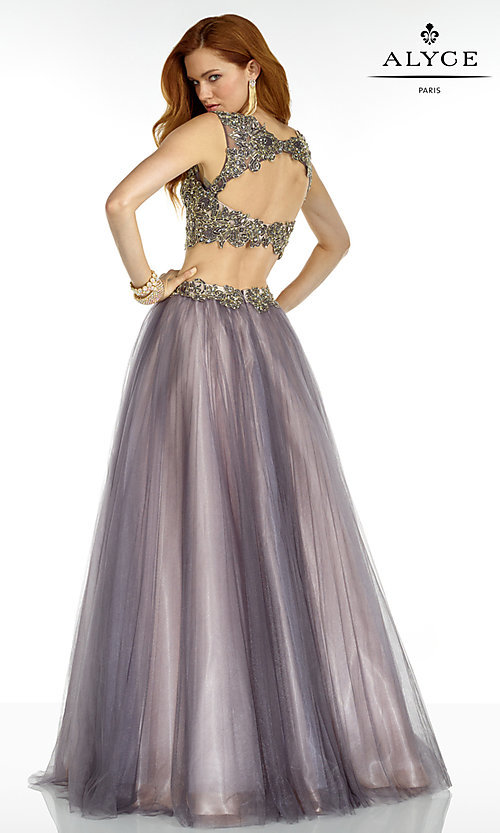 Image of long two-piece lace embellished open-back prom dress Style: AL-6561 Back Image