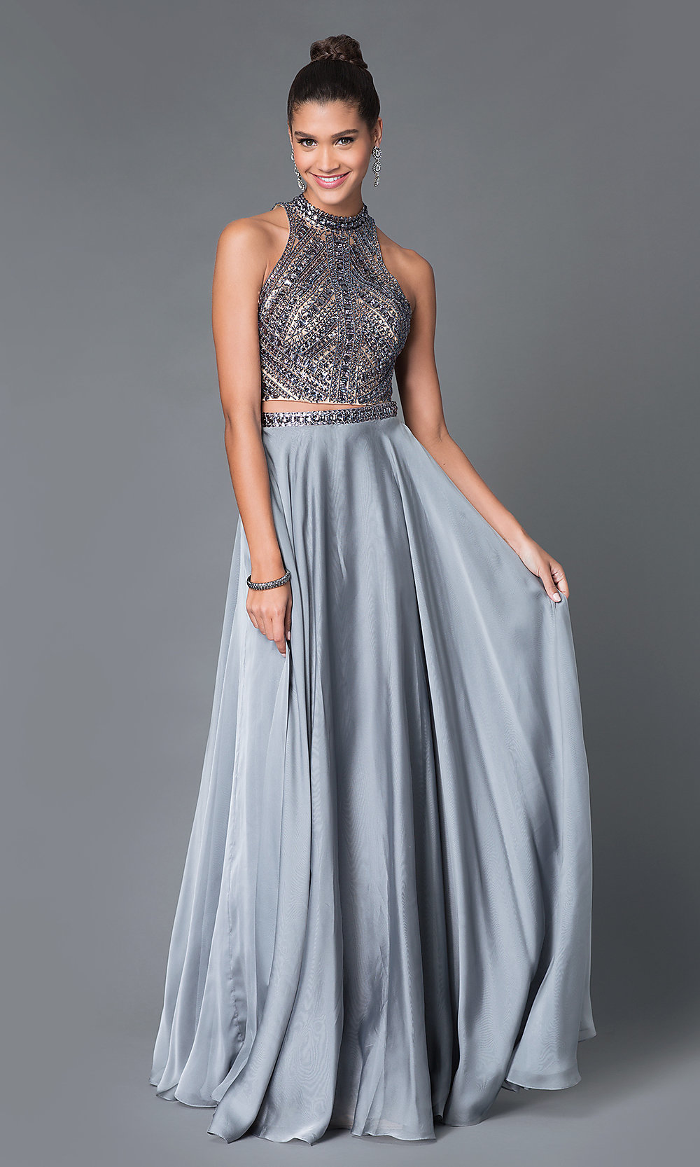 Two Piece Jeweled High Neck Prom Dress Promgirl