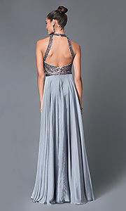 Image of long two-piece jeweled high-neck dress Style: MF-E1940 Back Image