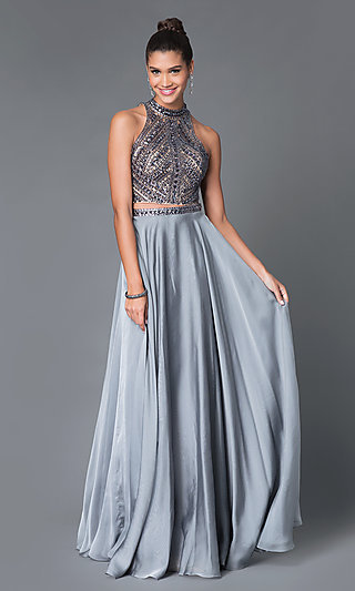 Two-Piece Jeweled High-Neck Prom Dress - PromGirl