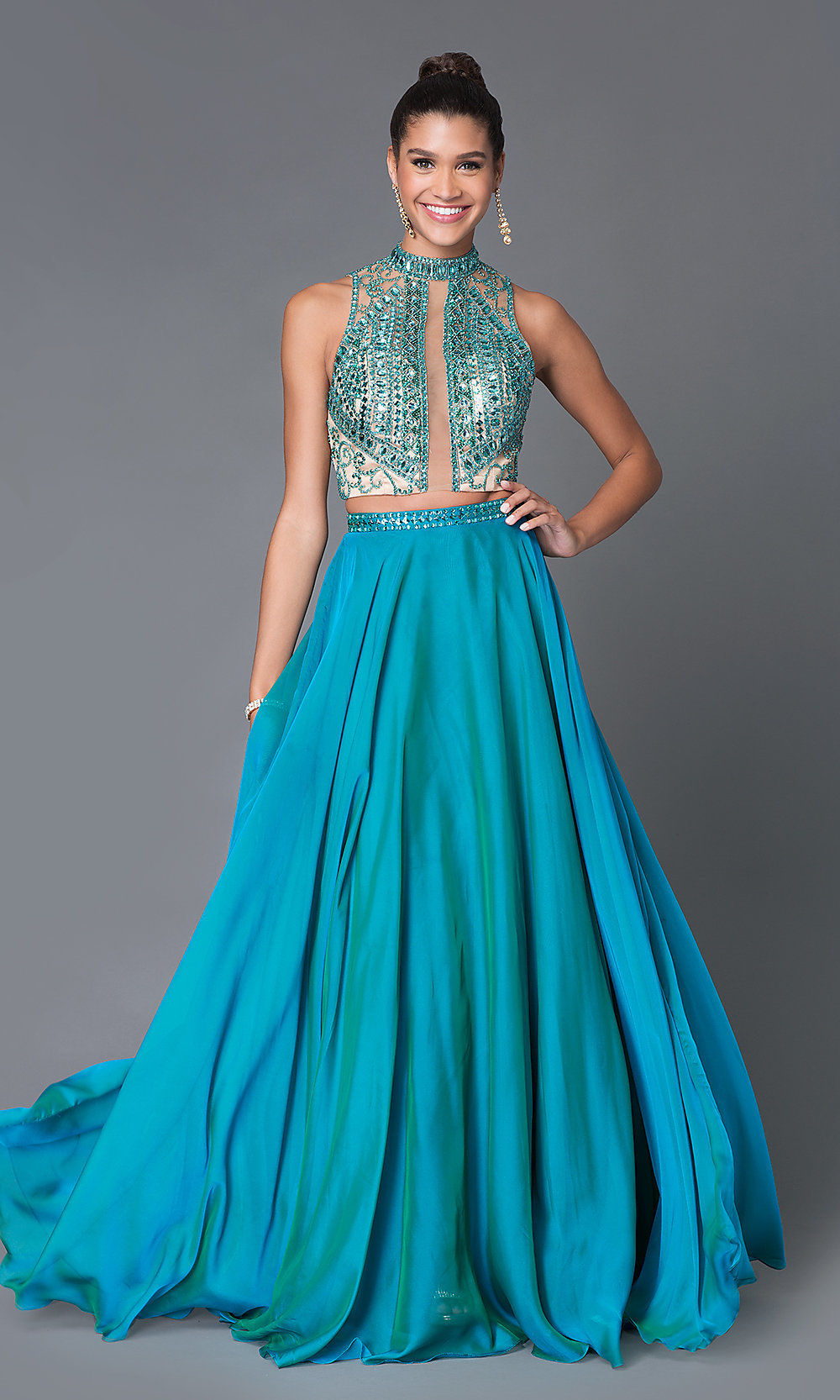 Wedding Teal Prom Dresses prom dresses celebrity sexy evening gowns high neck hover to zoom