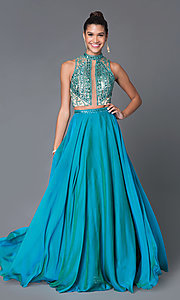 Two Piece Long Teal Prom Dress With Beaded Bodice