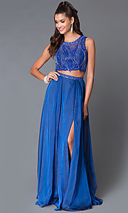 Image of two-piece beaded-crop-top long formal prom dress. Style: MF-E1958 Front Image